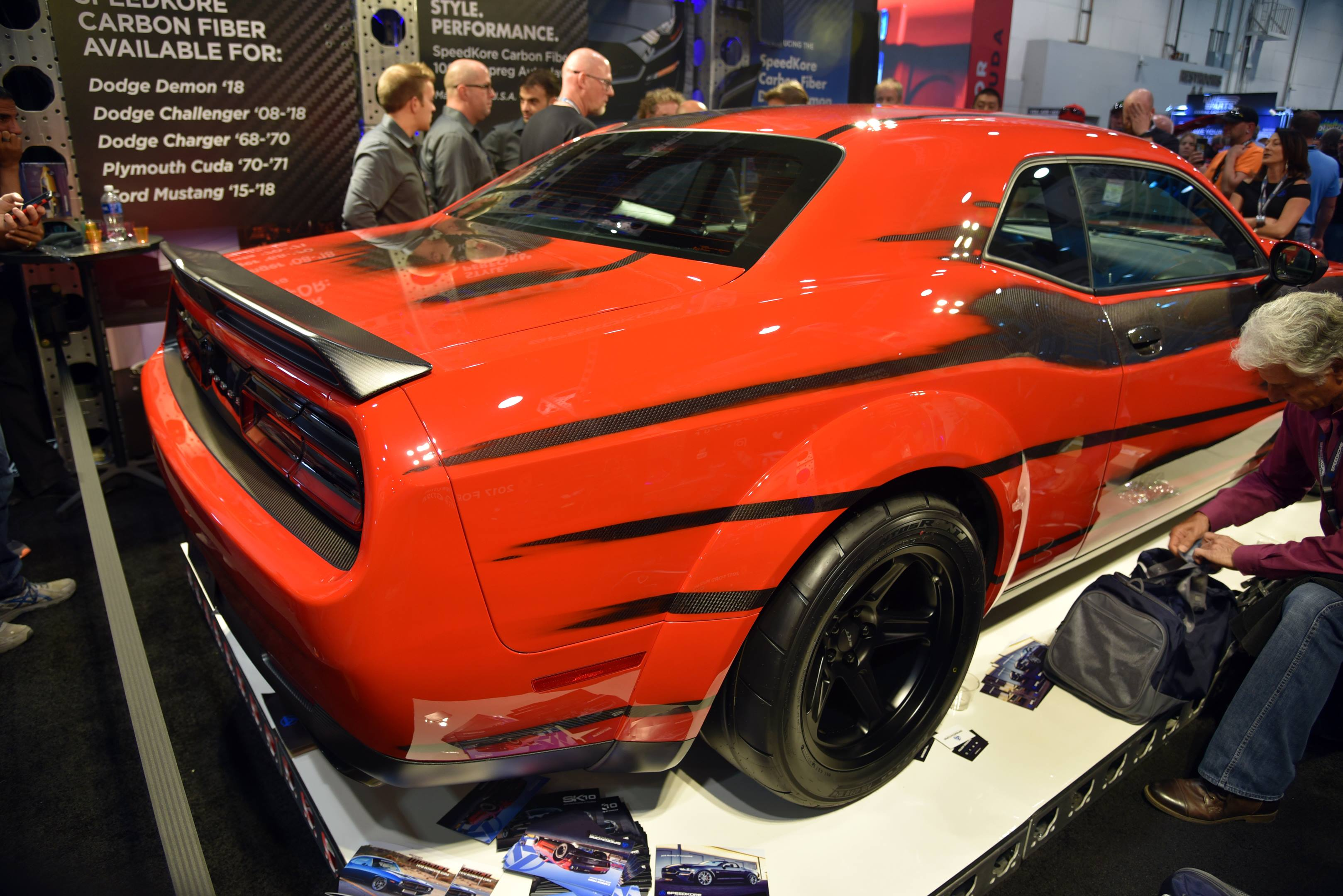 SpeedKore carbon-skinned Dodge Challenger SRT Demon rear 3/4