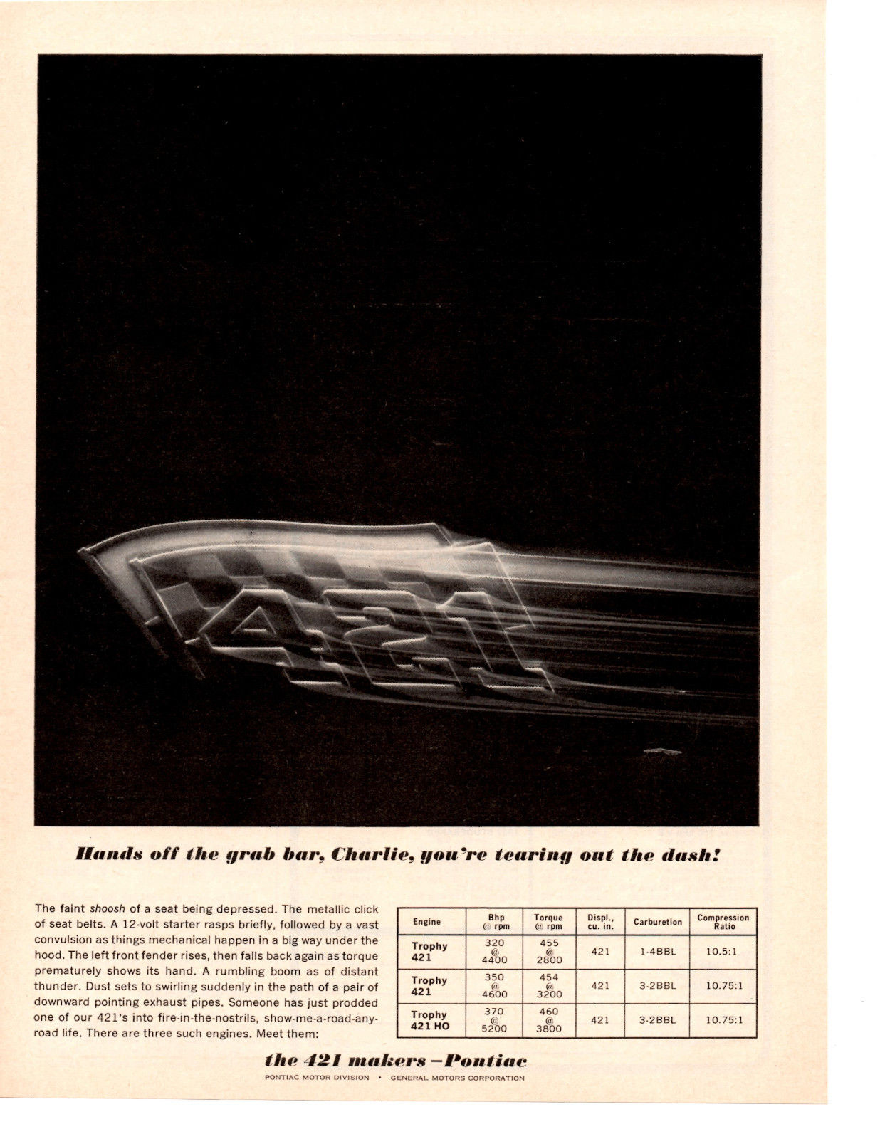 1963 Pontiac 421 Makers Advertisment