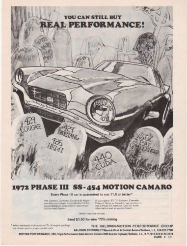 Baldwin Motion 1972 Chevrolet Phase III SS 454 Camaro Ad Advertisment