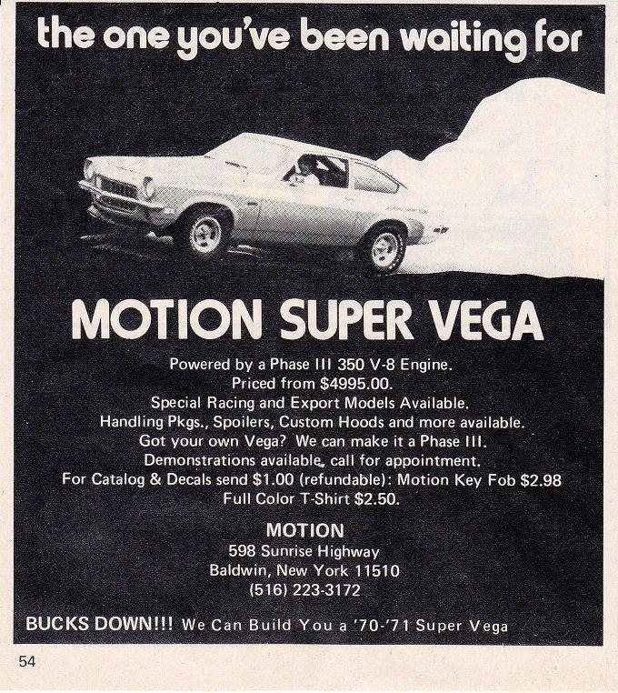 Baldwin 1971 Chevrolet Super Vega Ad Advertisement