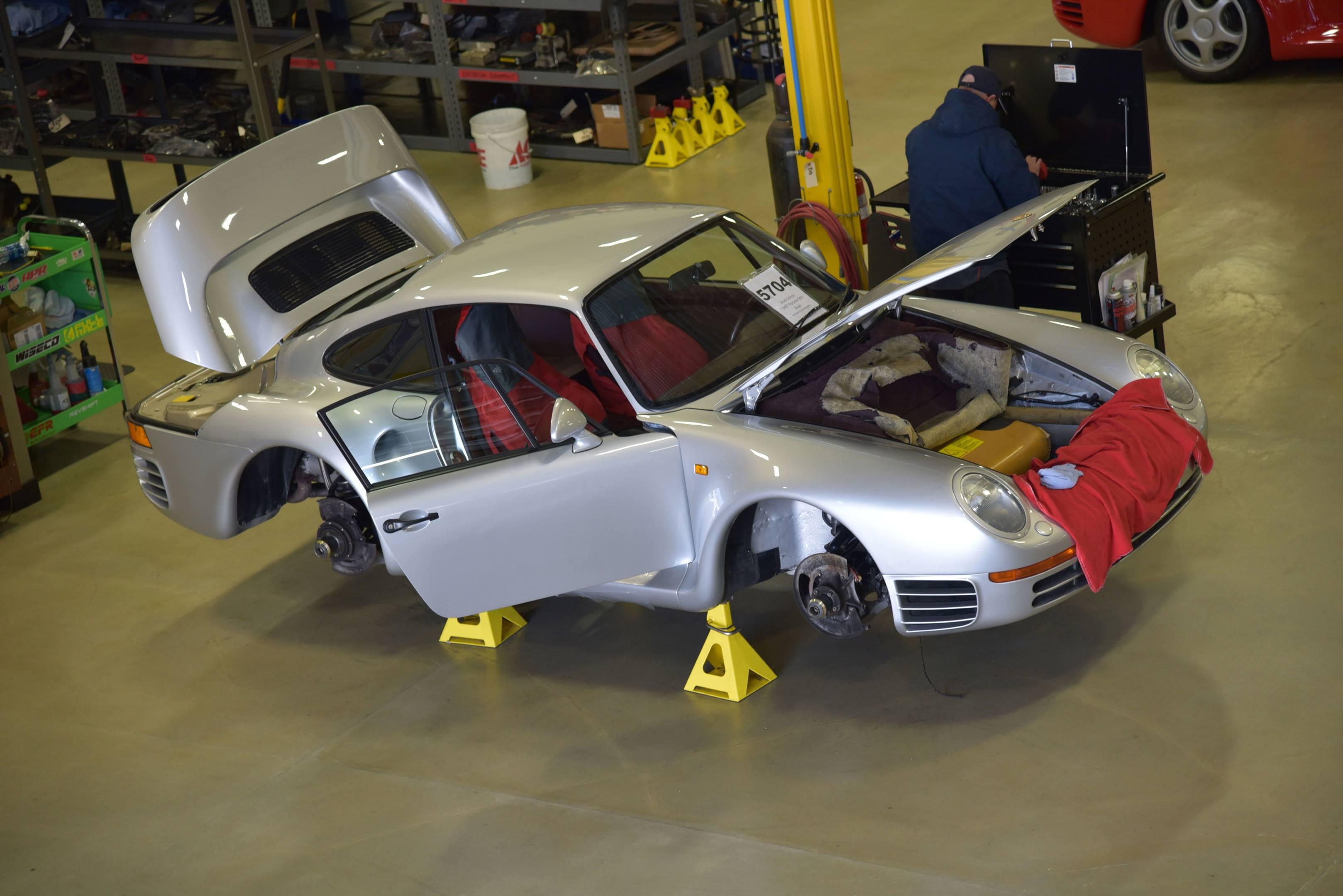 Porsche 959 on jack stands