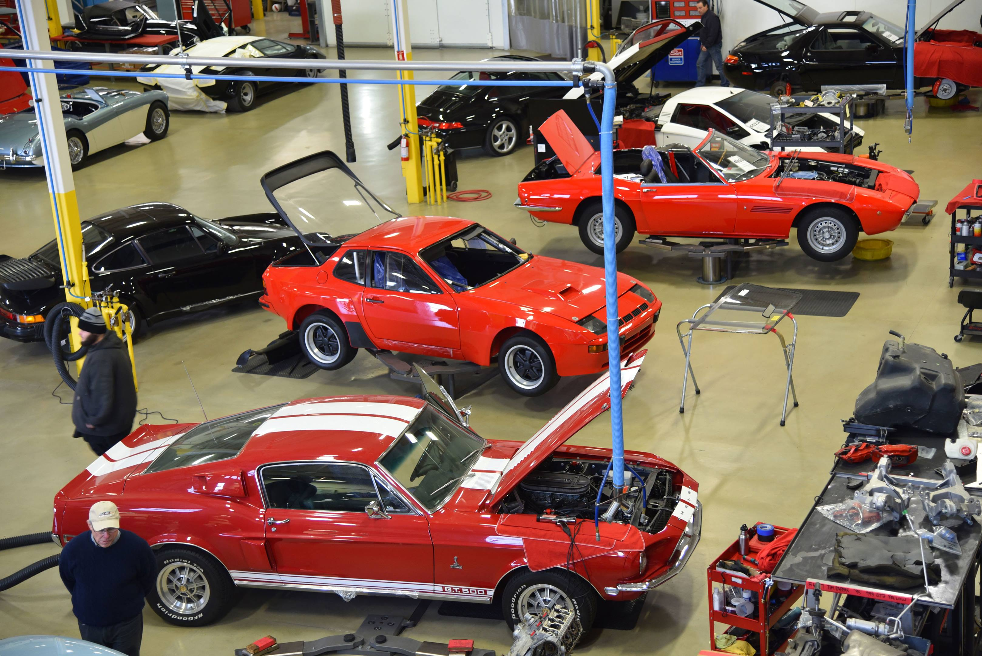 Canepa garage with Mustang