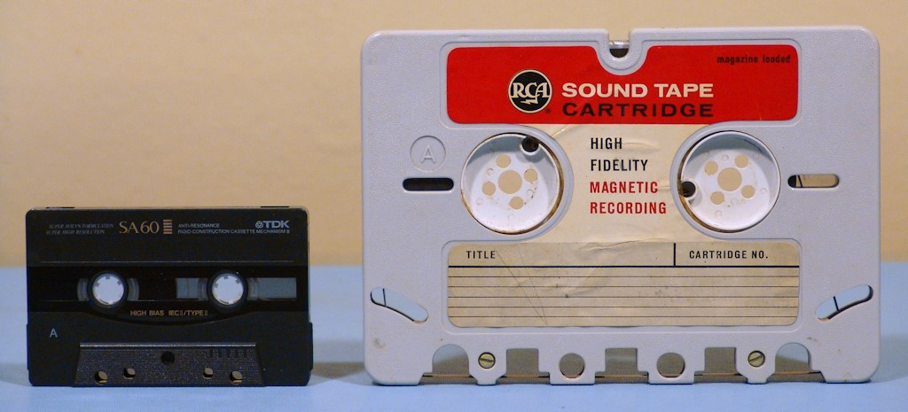 Luke, I am your father: The RCA sound tape cartridge (right) and the Compact Cassette that followed.