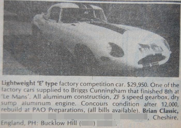 Classic Classified - 1963 Jaguar E-Type Lightweight thumbnail