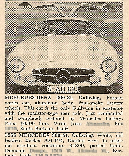 Mercedes-Benz 300 SL Alloy Gullwing ad