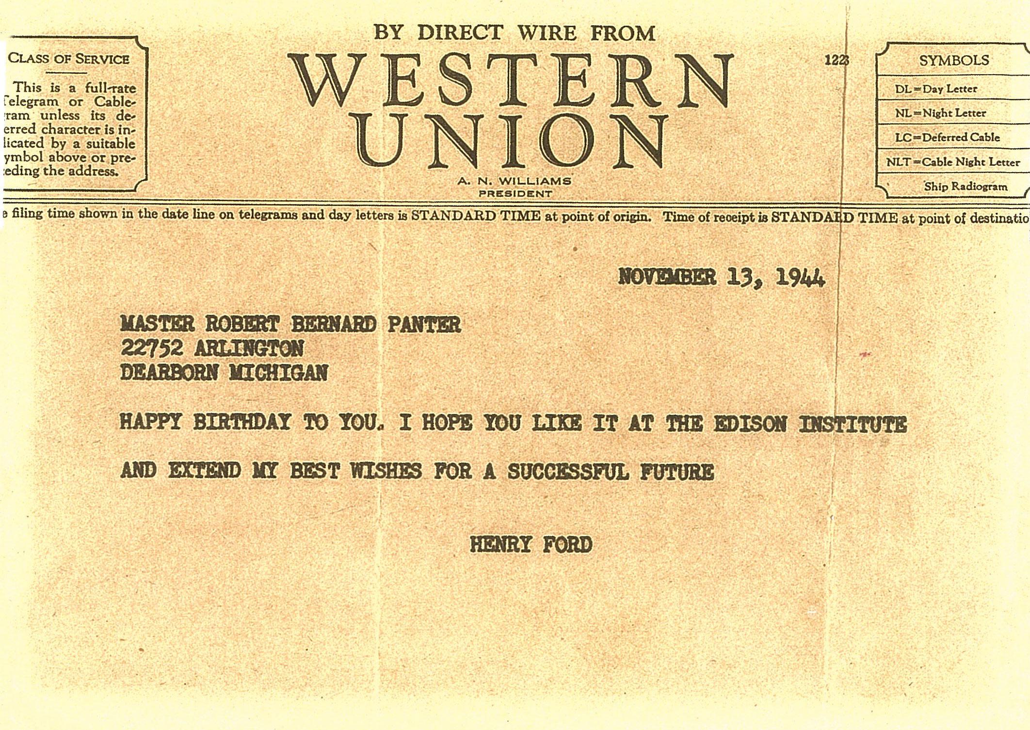 Birthday telegram to Bob Panter from Henry Ford