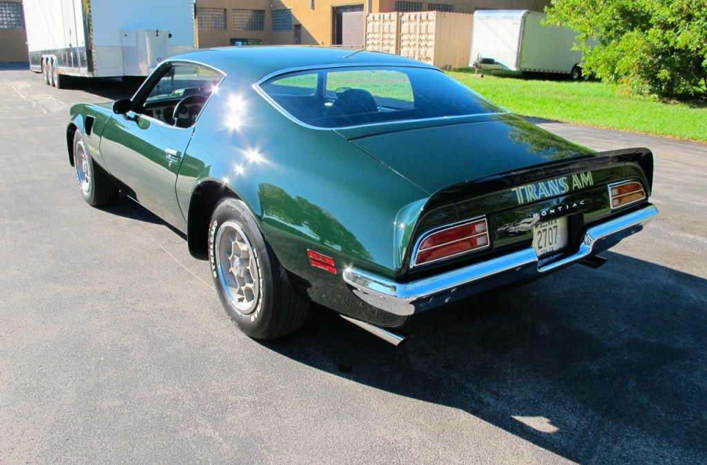 1973 pontiac trans am super duty sd 455 green rear side