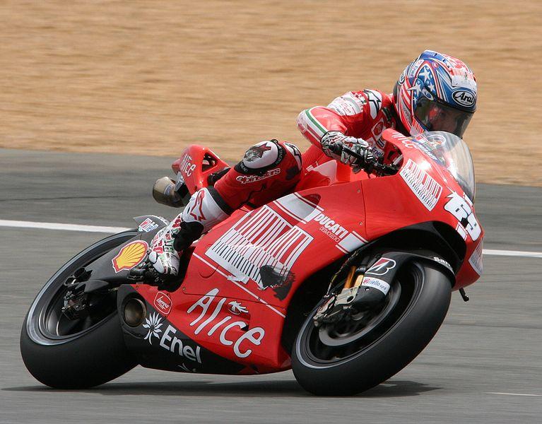 Nicky Hayden racing in the 2009 Le Mans MotoGP