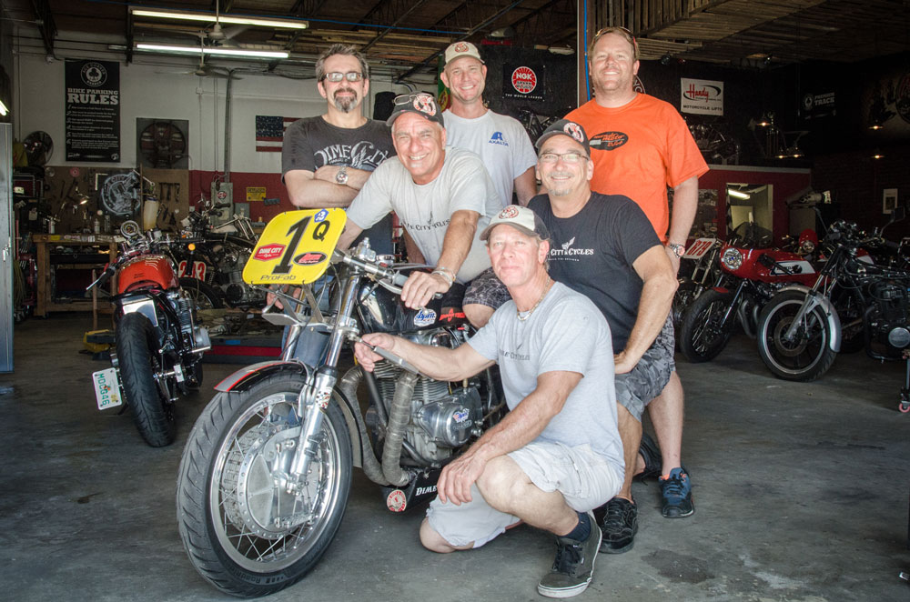 At Dime City Cycles with (back row, from left) Herm Narciso, Corey Gramling, Rian Mondriaan, (second row) Scott Turner, Jim Korn, and (front) Scot Fielder. (Roy Furchgott)