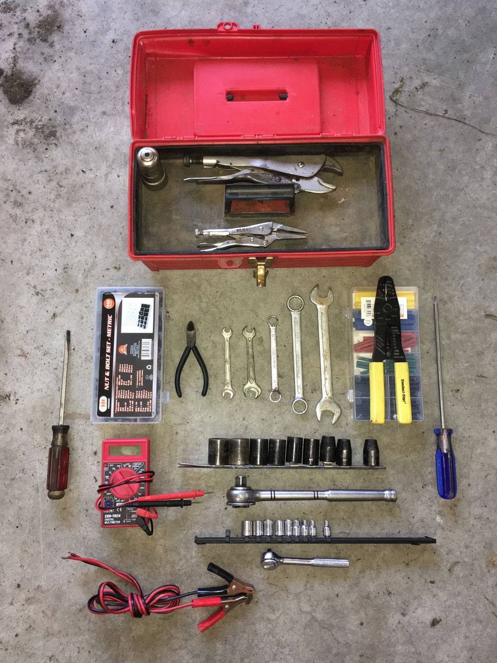 Contents of my throw-it-in-the-trunk tool box.