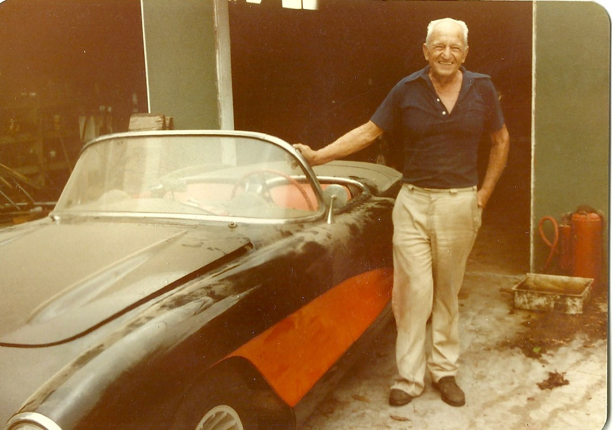 Bill Kriste, the Corvette's original owner, shown here with the car in a 1983 photo