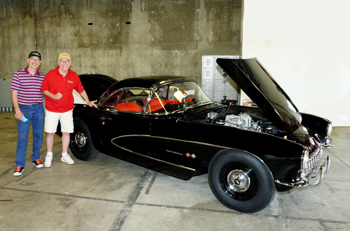 Kevin Mackay (left) and Phil Bachman with Bachman's freshly restored 1957 Corvette at Bloomington Gold, June 2017, where the car earned Gold Certification
