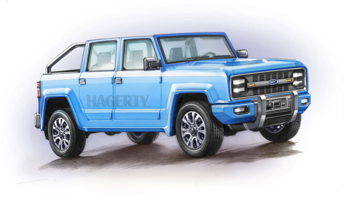 The 2020 Bronco's looks are still a secret, so we imagined what a four-door convertible could look like (Bruce Morser)