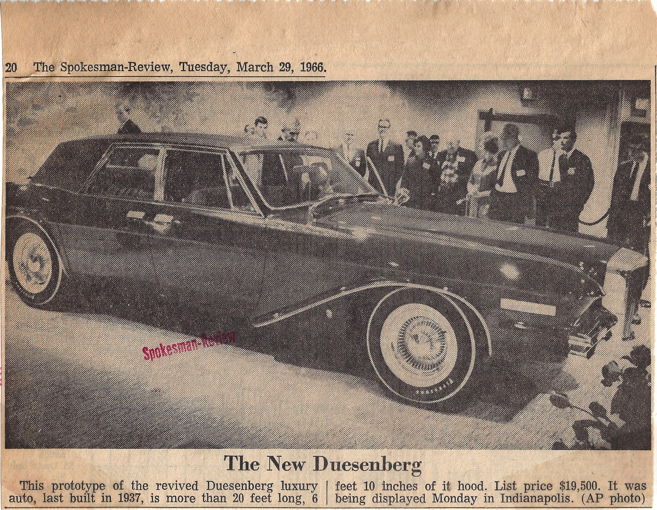 The 1966 Duesenberg in the Spokesman-Review newspapper