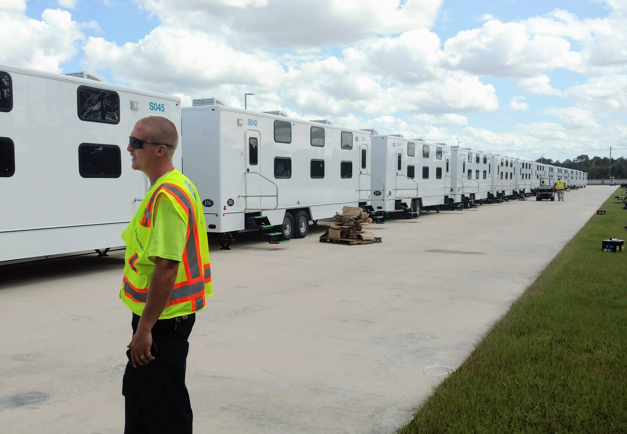 Jordan Pinkerton (Texas) is part of the crew setting up these units, 16 beds per unit 63 units, 13 shower and bath trucks.