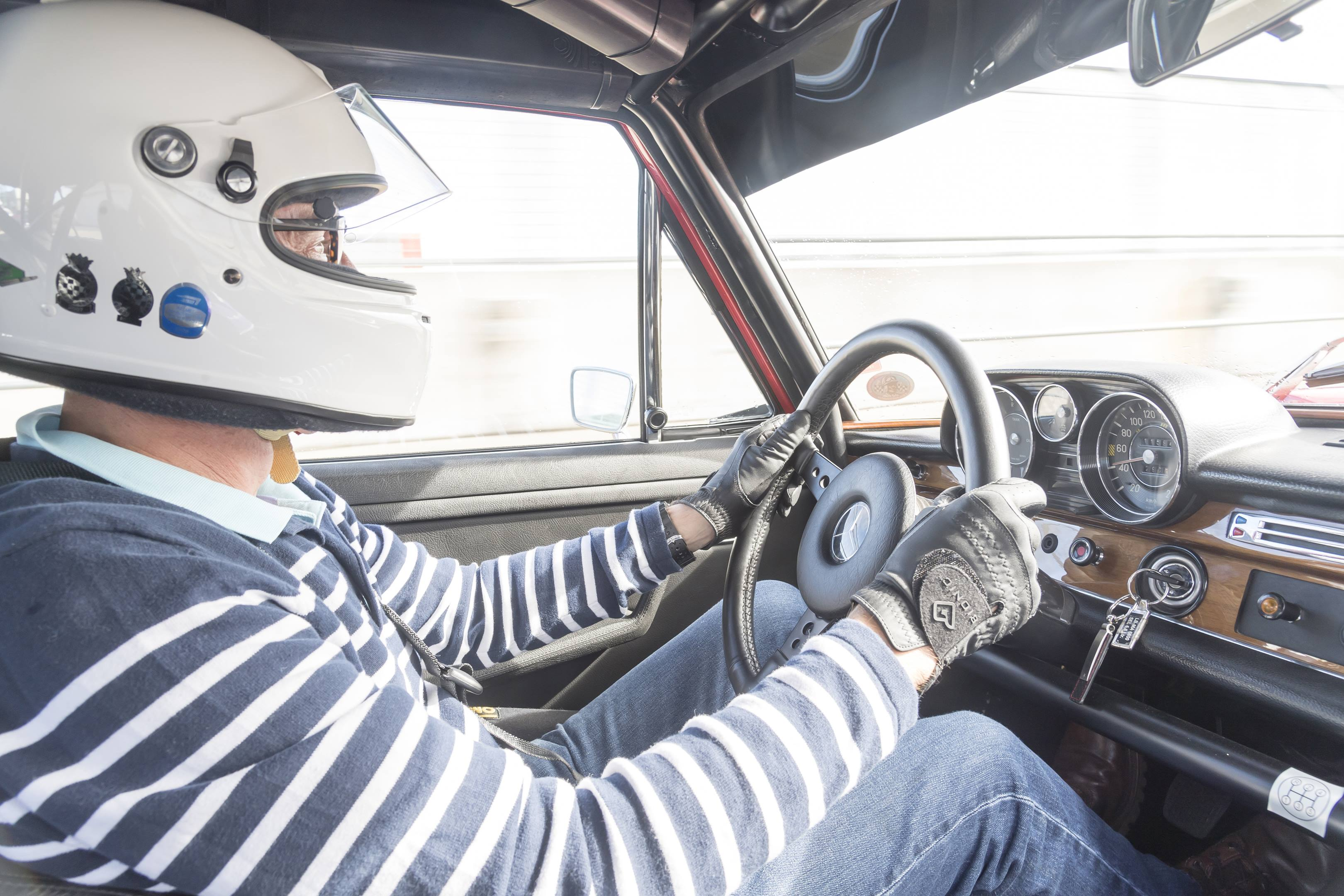 mercedes benz amg 300SEL 6.3 in car driver
