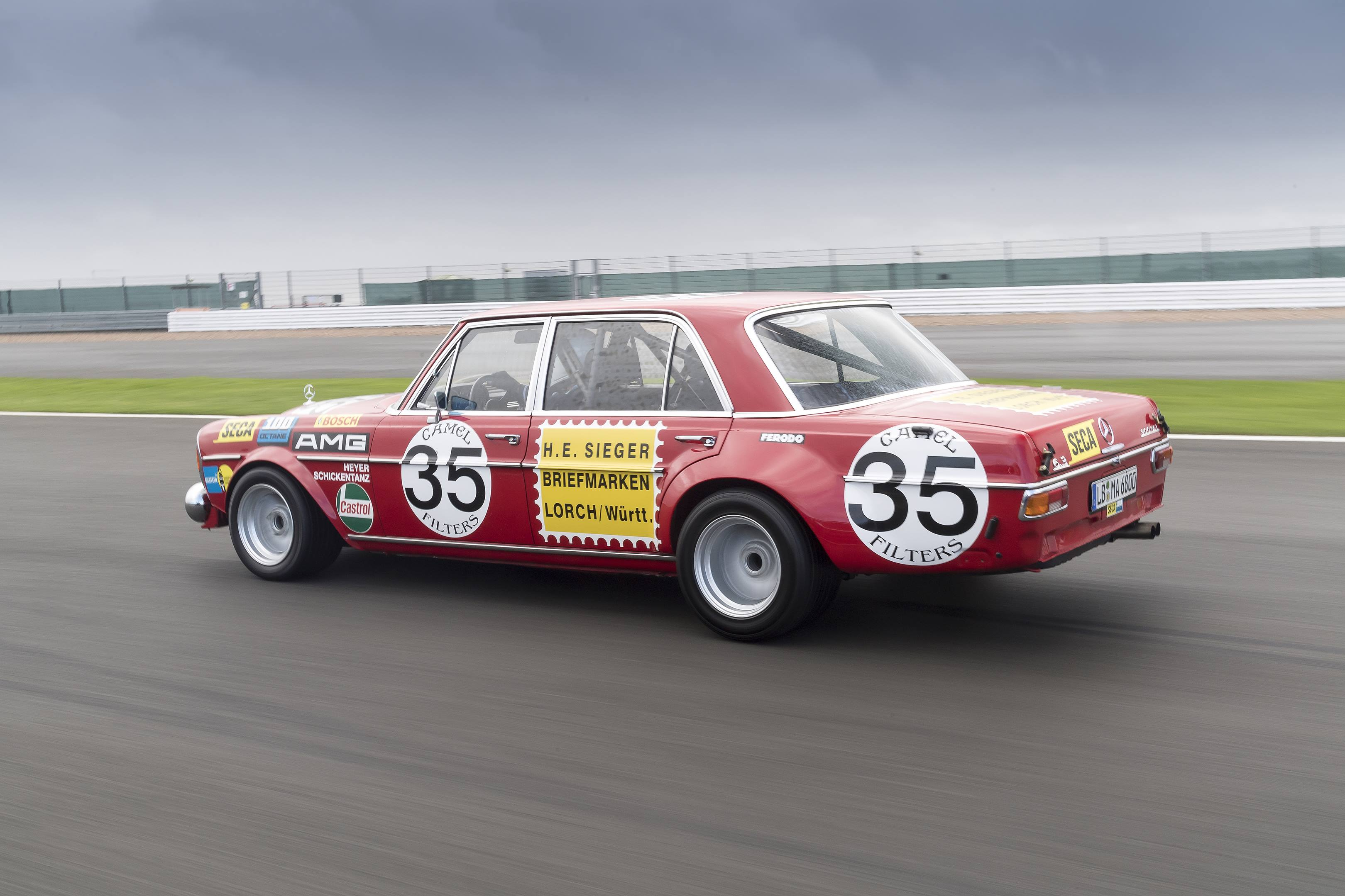mercedes benz amg 300SEL 6.3 side red pic track