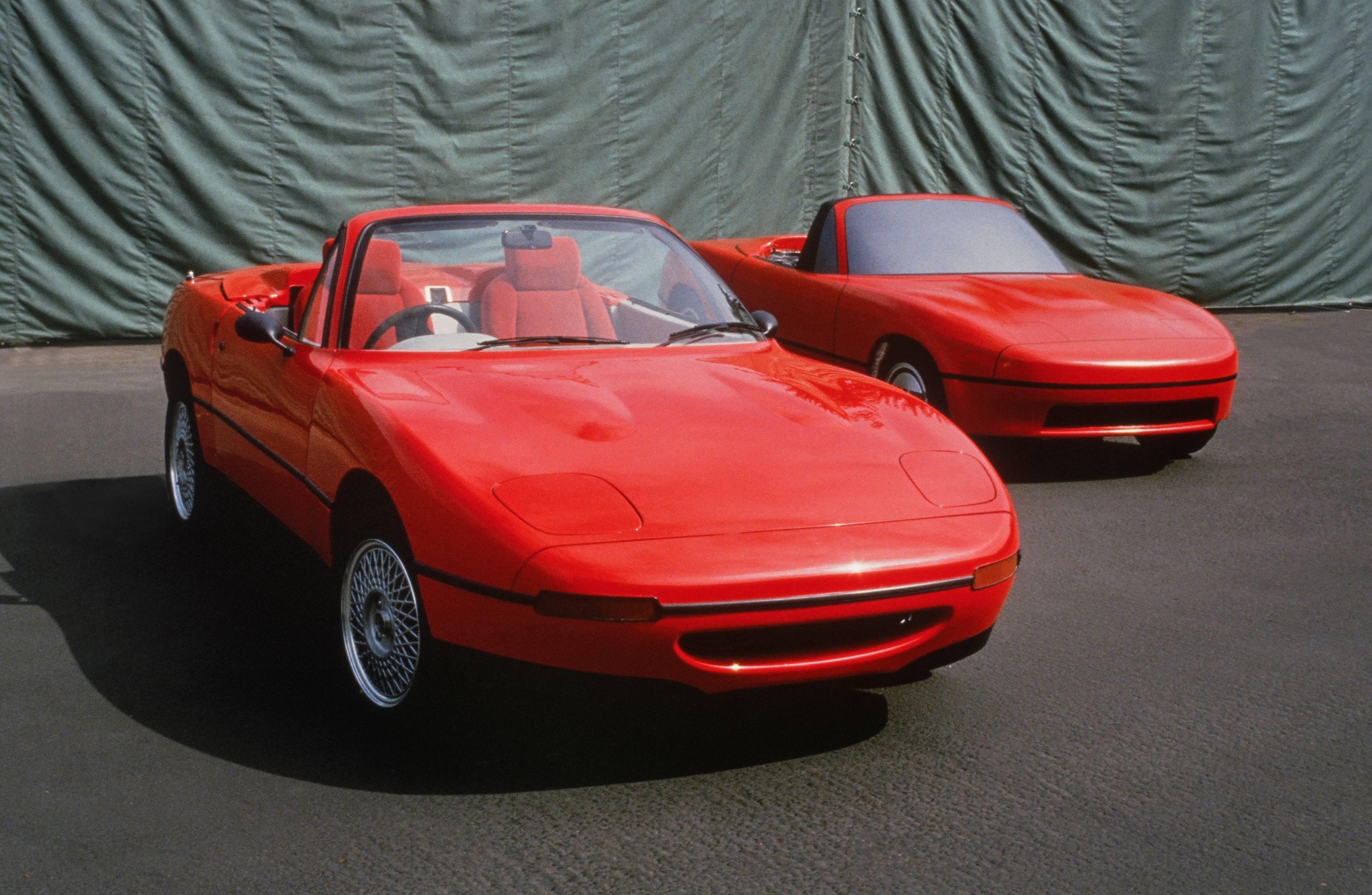 mazda mx5 miata design test two cars