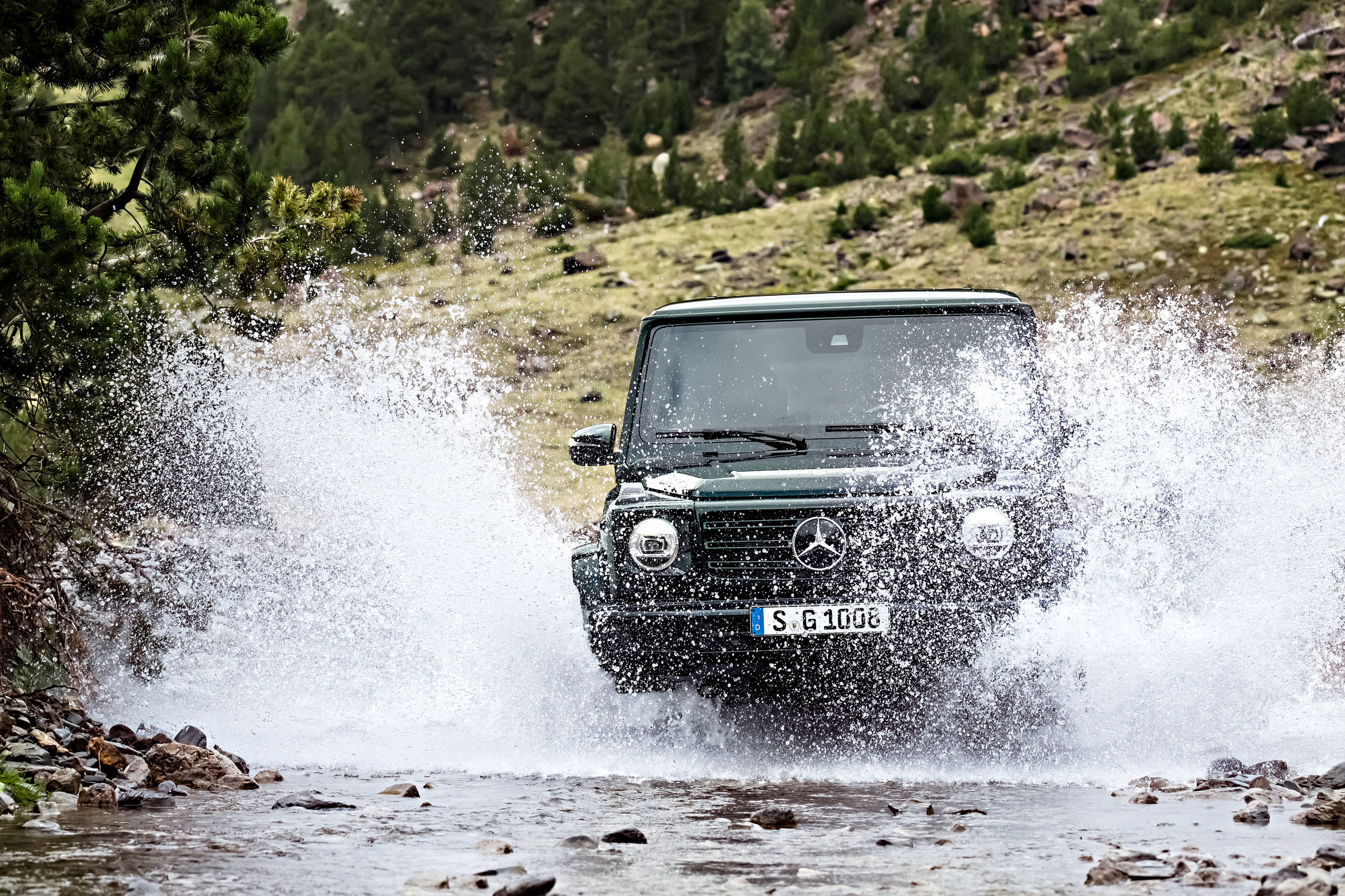 2019 Mercedes-Benz G-Class splashing through a river