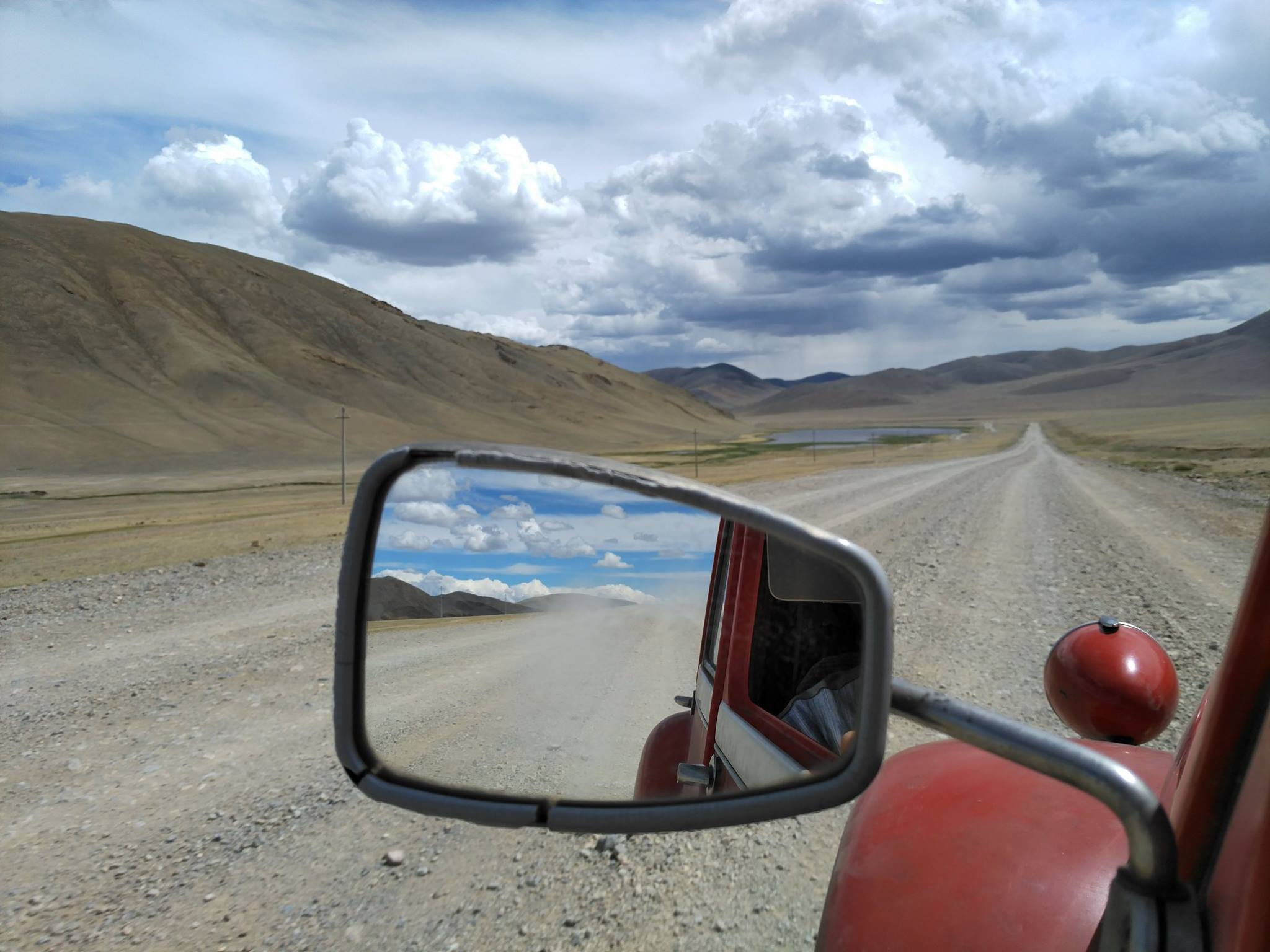 view of the road on a Citroën 2CV road trip