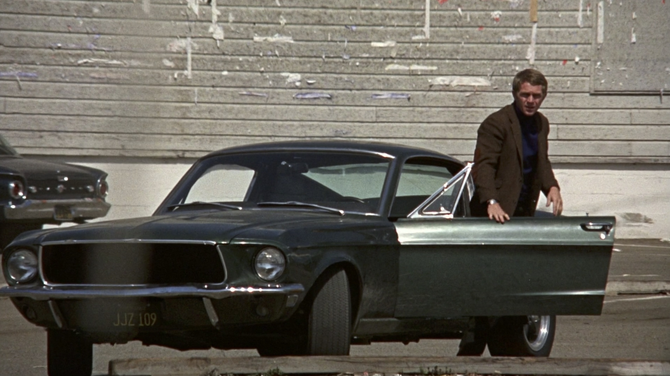 Steve McQueen with the Bullitt Mustang
