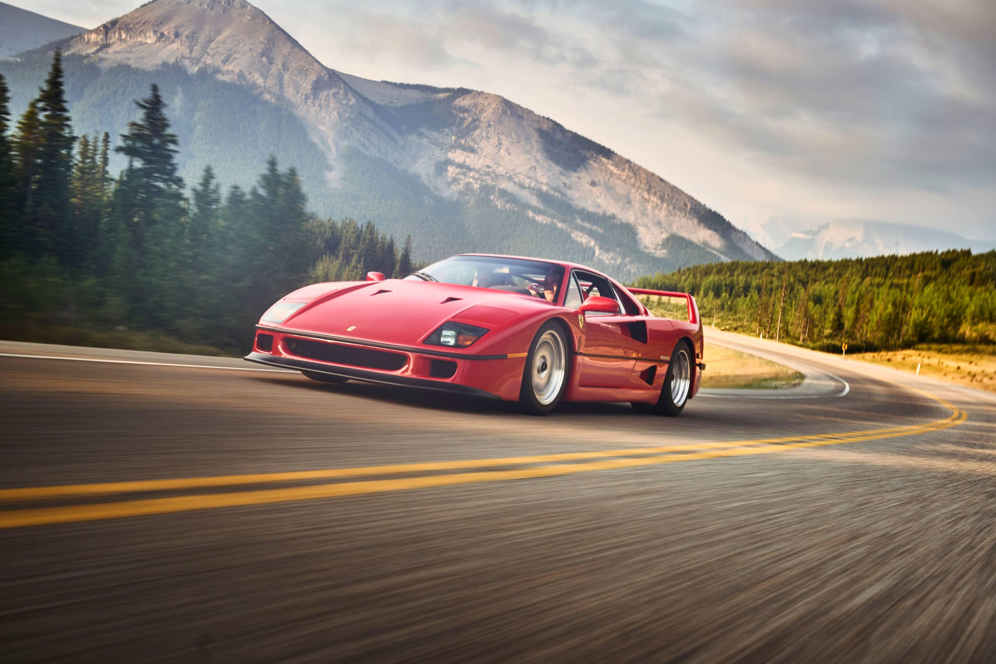 Ferrari F40 on the open road