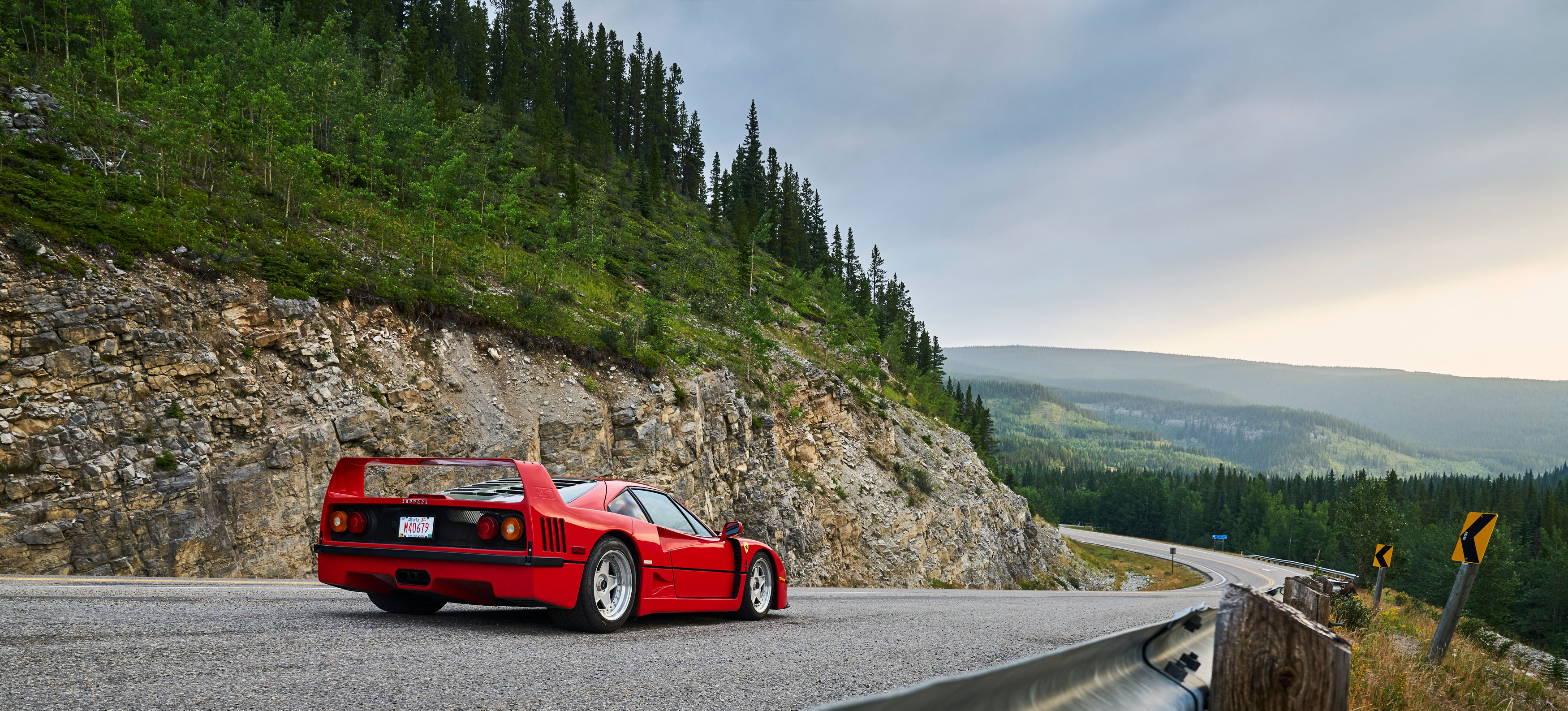 No mere straight-line rocket, the F40 is quite happy on a twisty road. Fat Pirelli P Zero tires help.