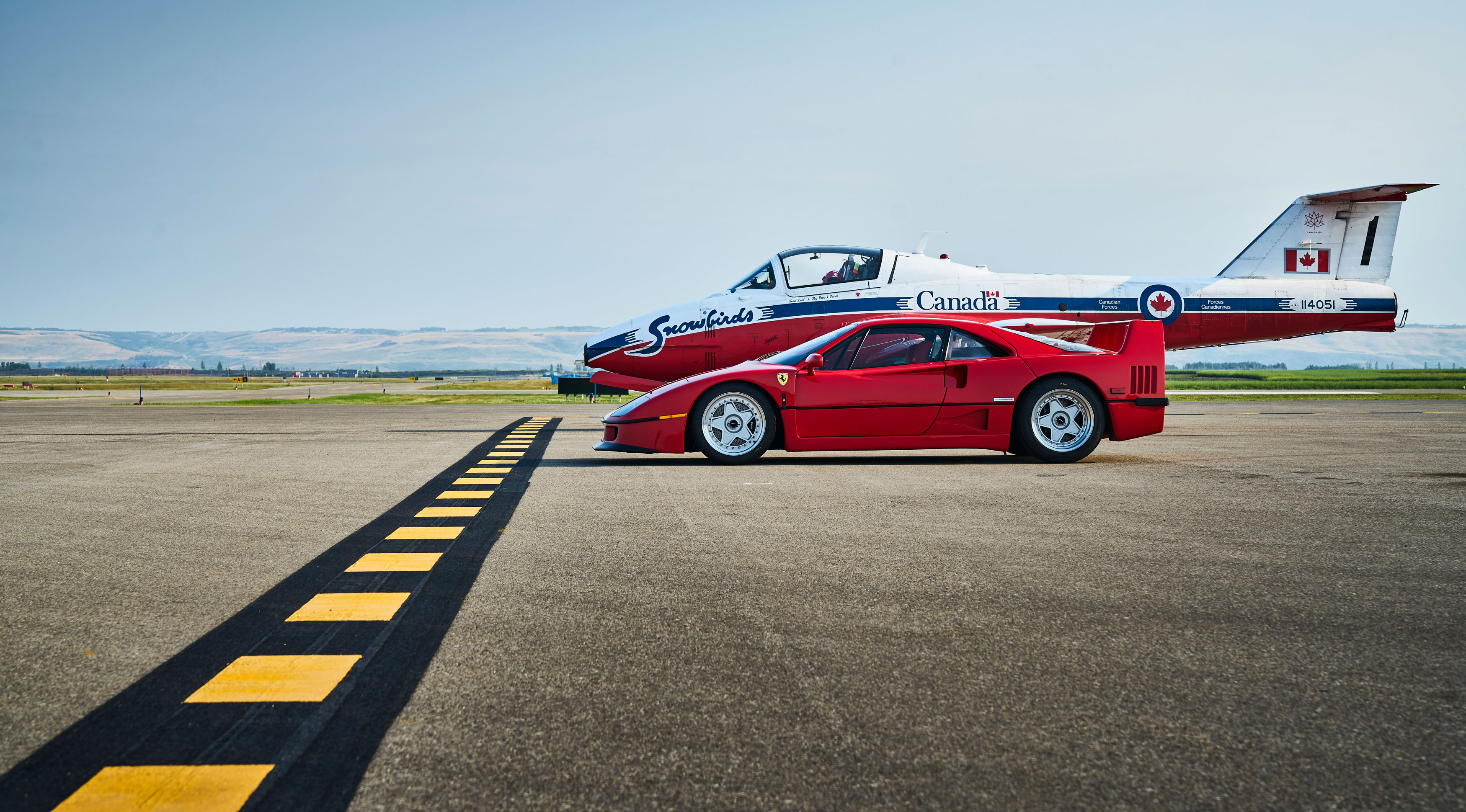 Ferrari F40 at an airstrip.