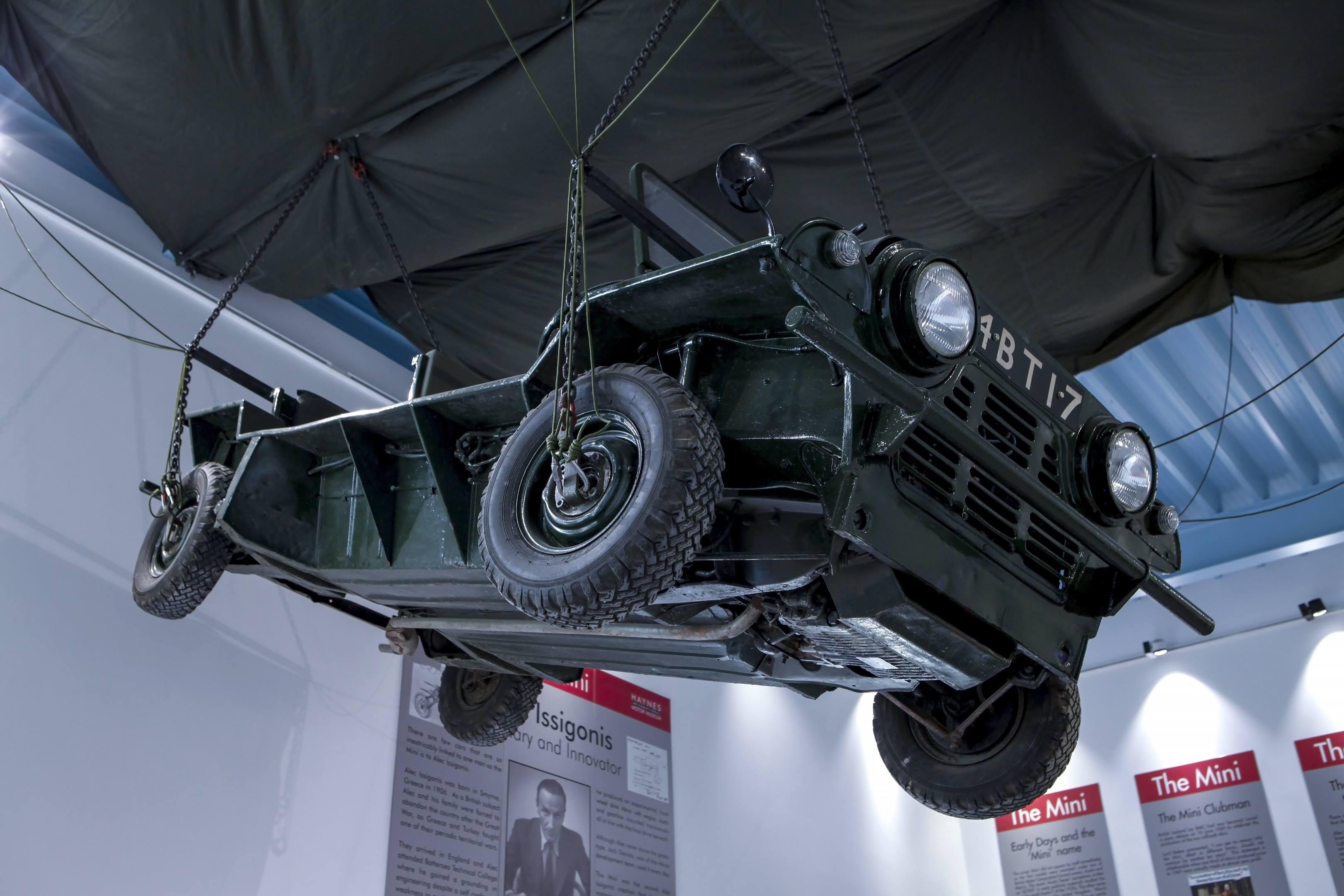 mini moke hanging from the ceiling at Haynes International Motor Museum