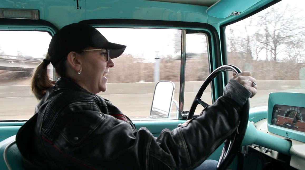 Tabetha Hammer driving the 1962 International Travelette pick up