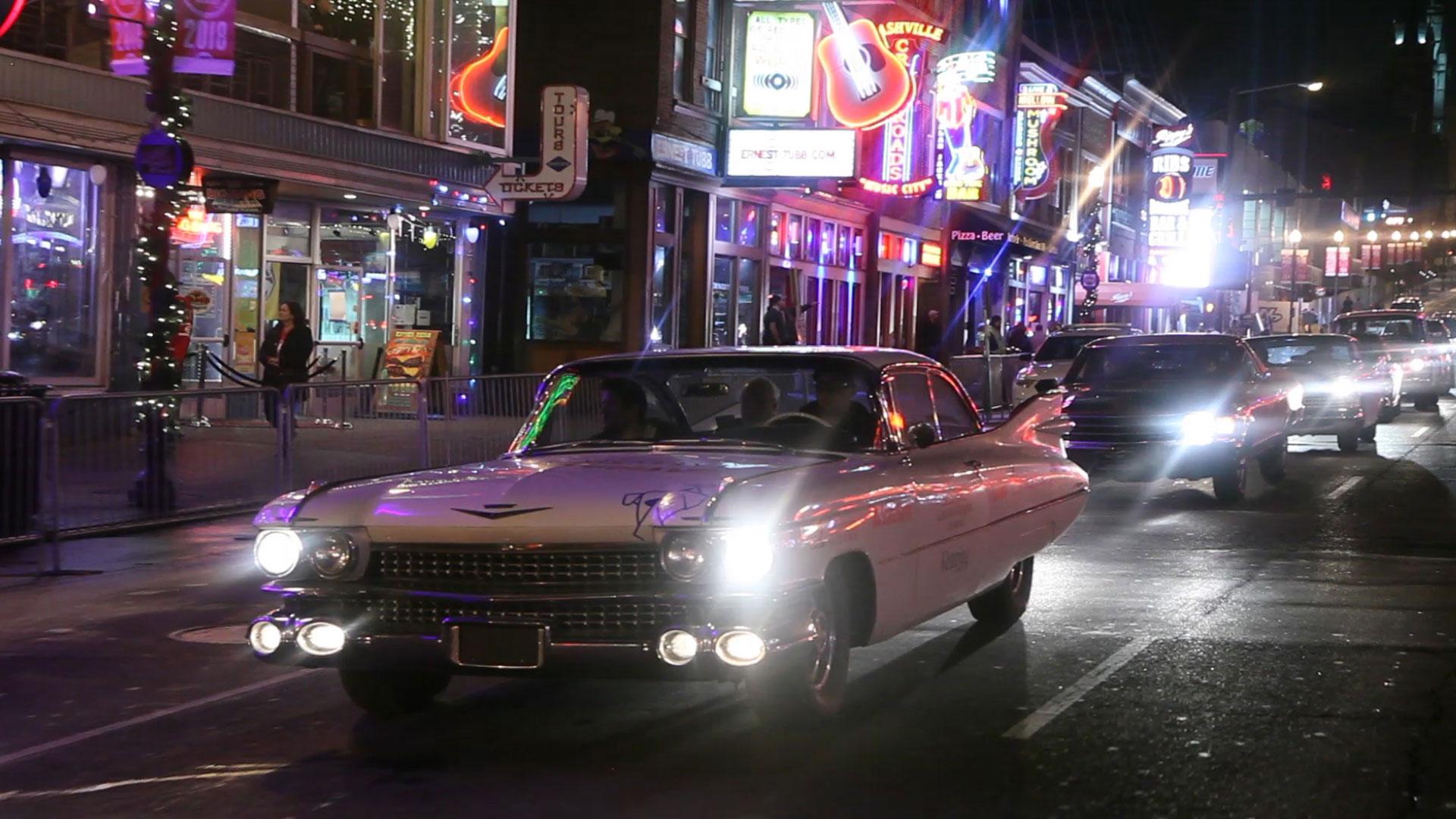 1959 Cadillac Coupe de Ville cruising Nashville's Music Row