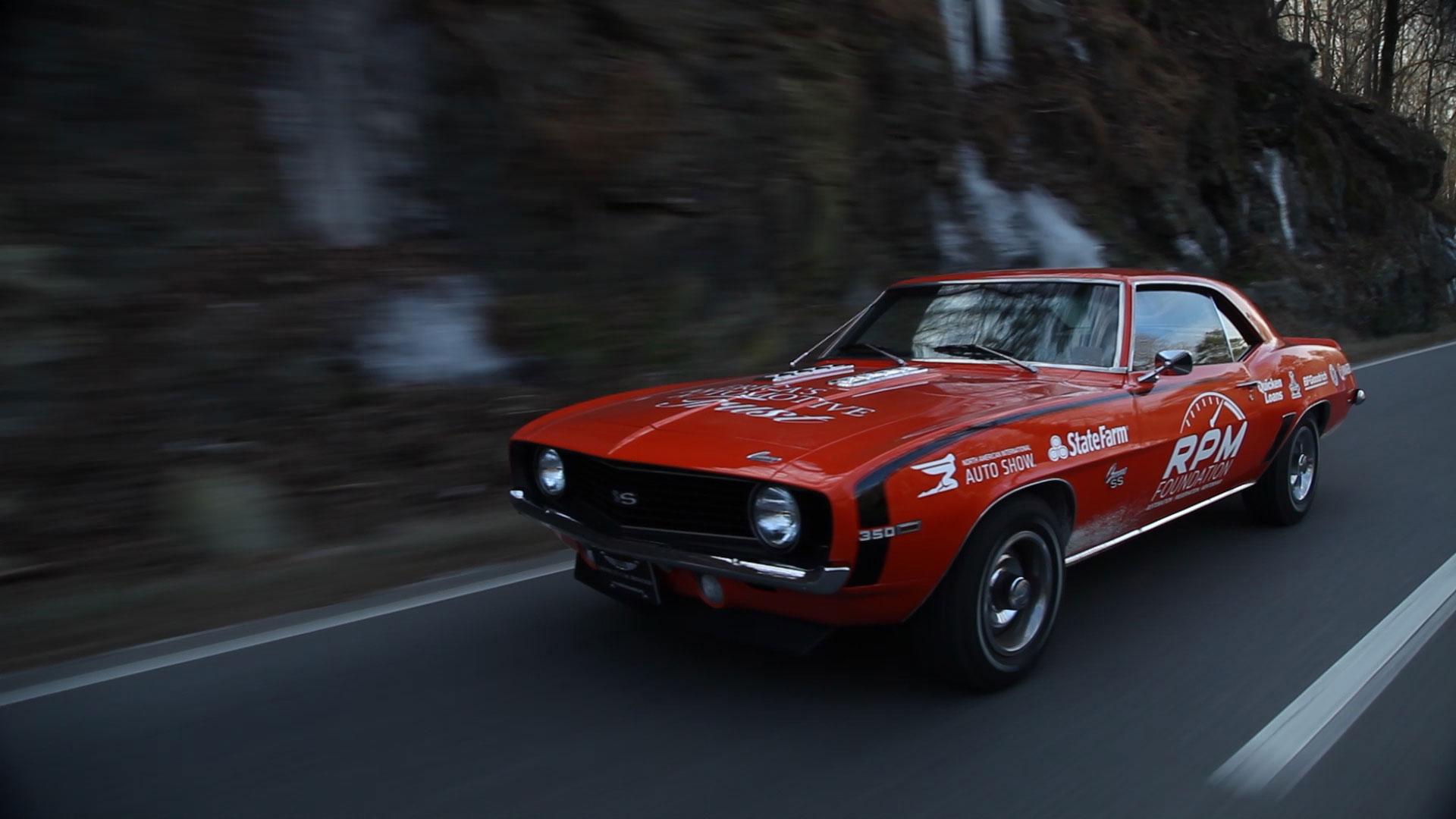 1969 Chevrolet Camaro cruising the Smokey Mountains