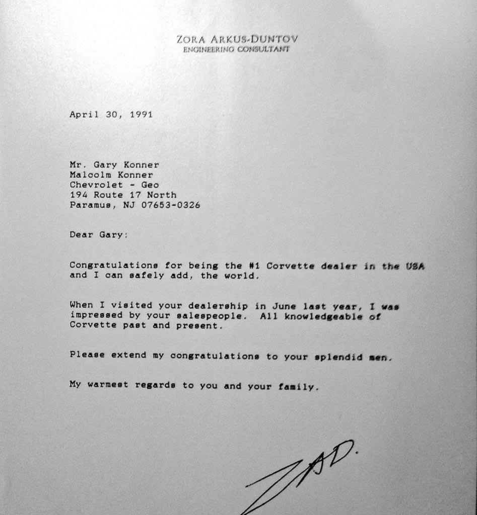 Congratulatory letter from Zora Arkus-Duntov