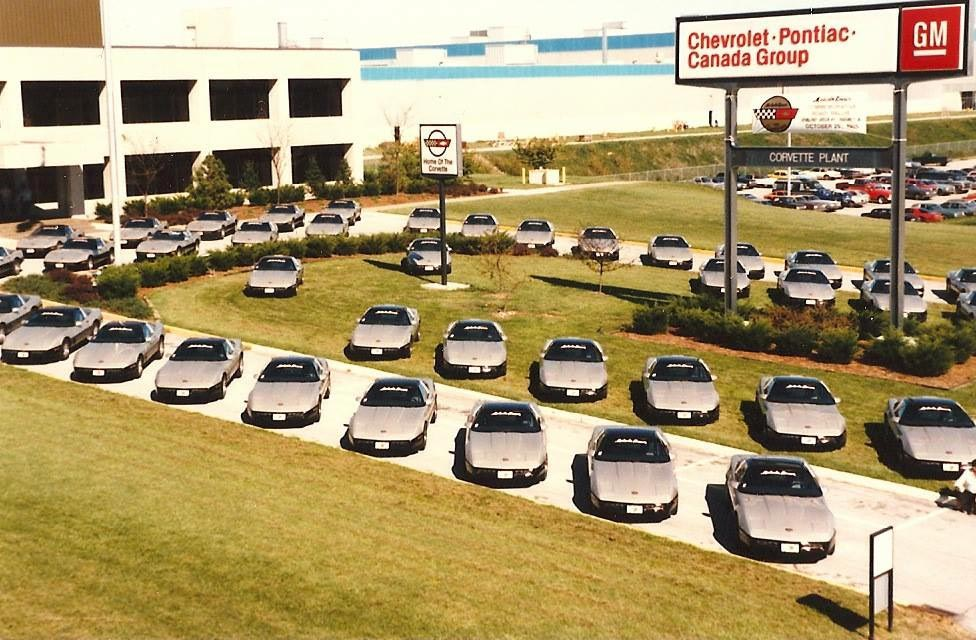 New 1986 Malcolm Konner Edition Corvettes at the Corvette Assembly Plant in Bowling Green, Kentucky.