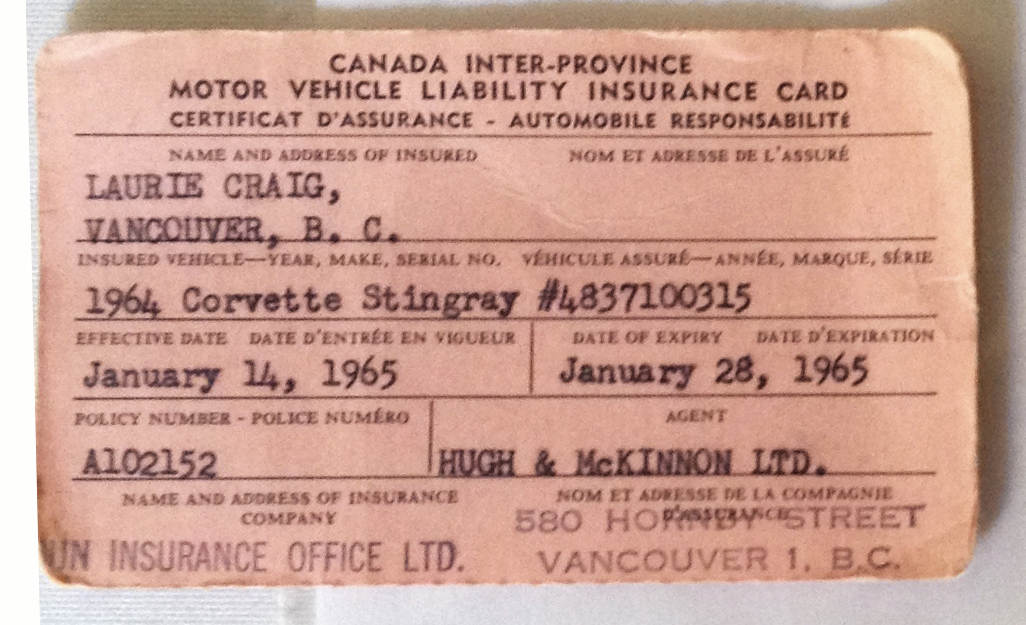 Laurie Craig's Insurance Card for The Little Red Corvette