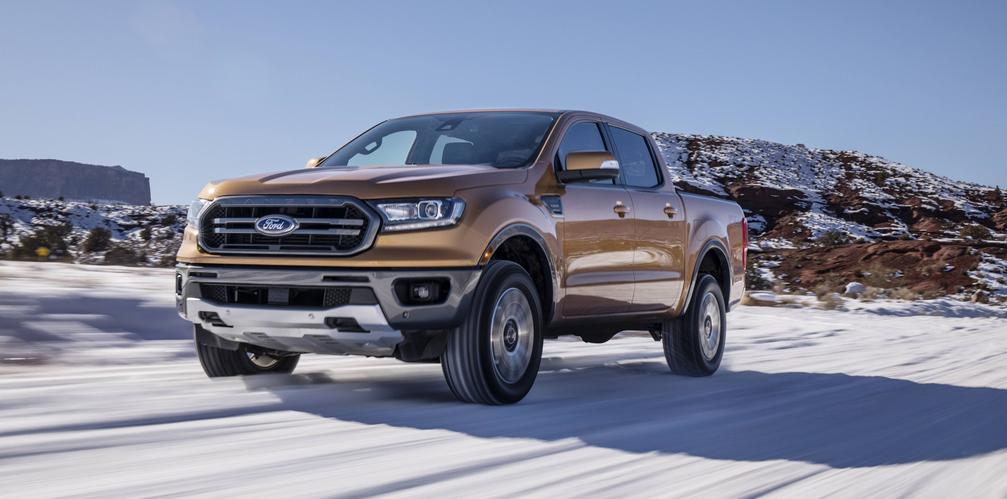 2019 Ford Ranger driving in the snow