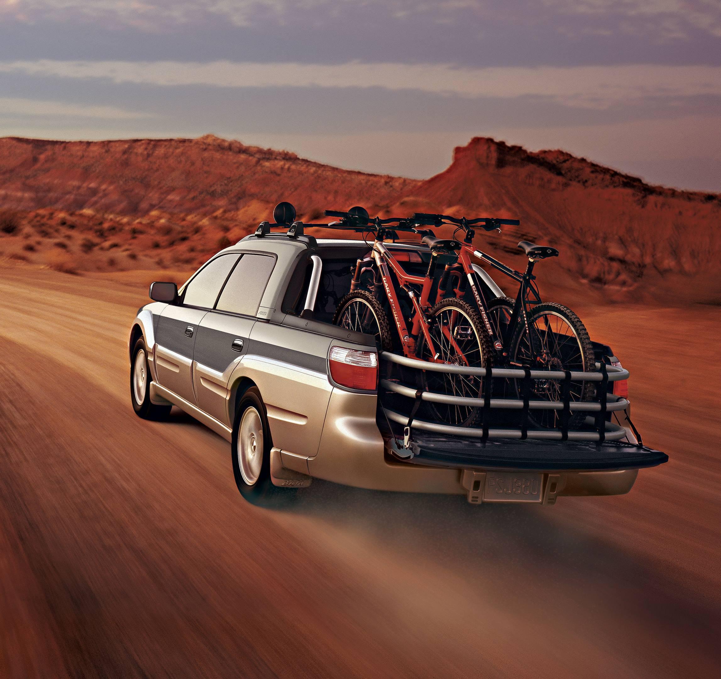 2005 Subaru Baja with bikes