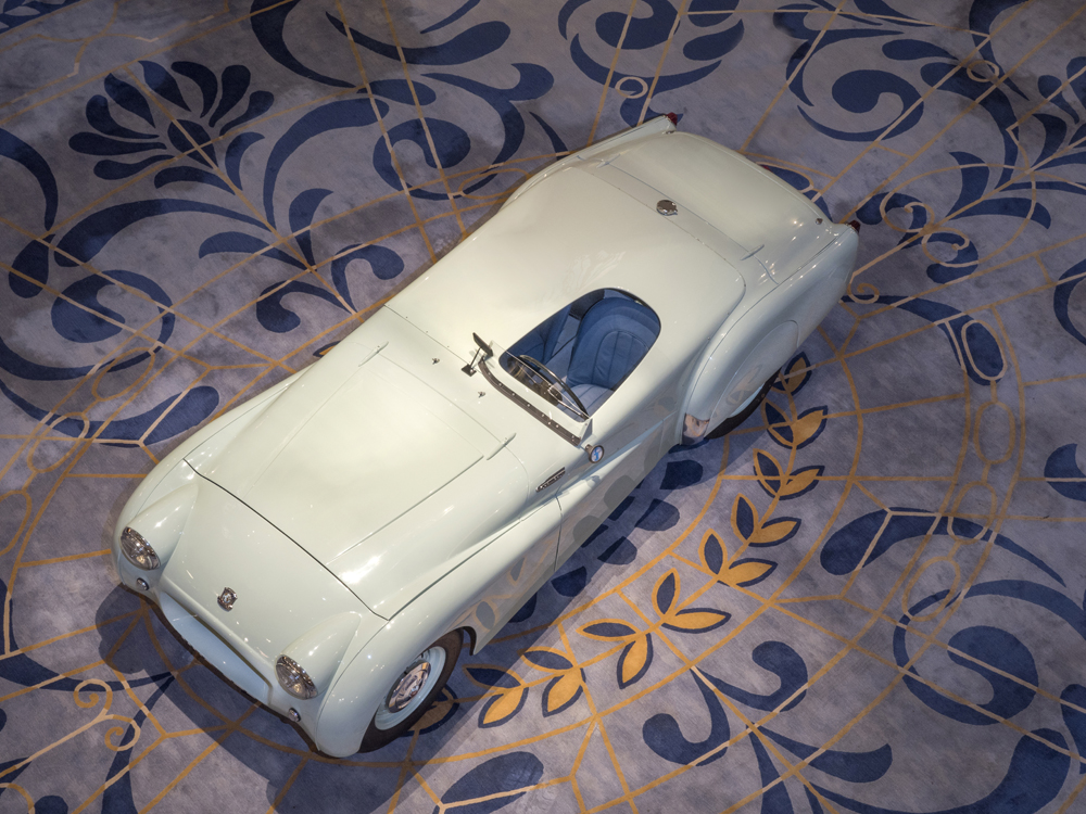 The TR2 on display at the Royal Automobile Club in London top down