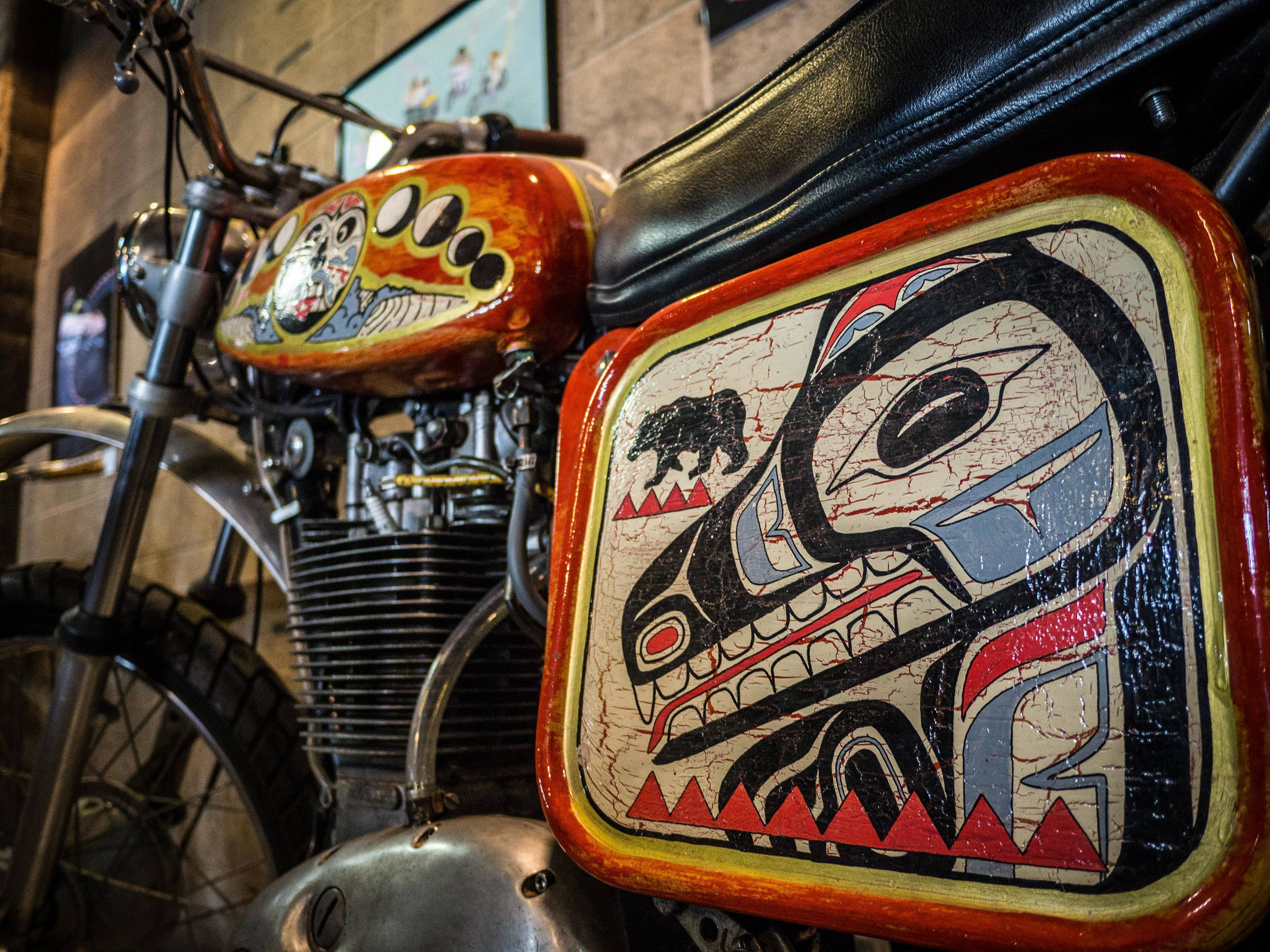 This 1972 BSA B50 MX had wonderful patina on custom paintwork that paid tribute to native peoples of the Pacific Northwest.