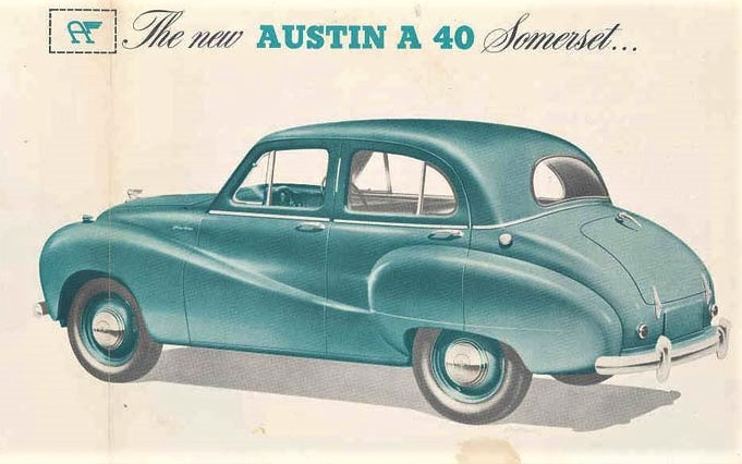 A 1952 Austin A40 Somerset, as depicted in a magazine advertisement.