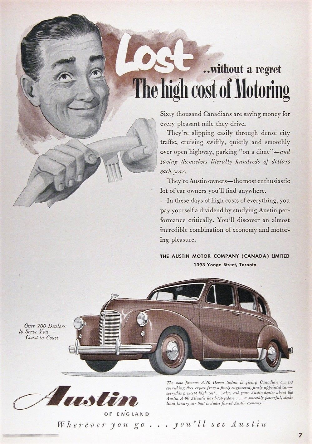 Canadian advertising promoting the 1952 Austin A40.