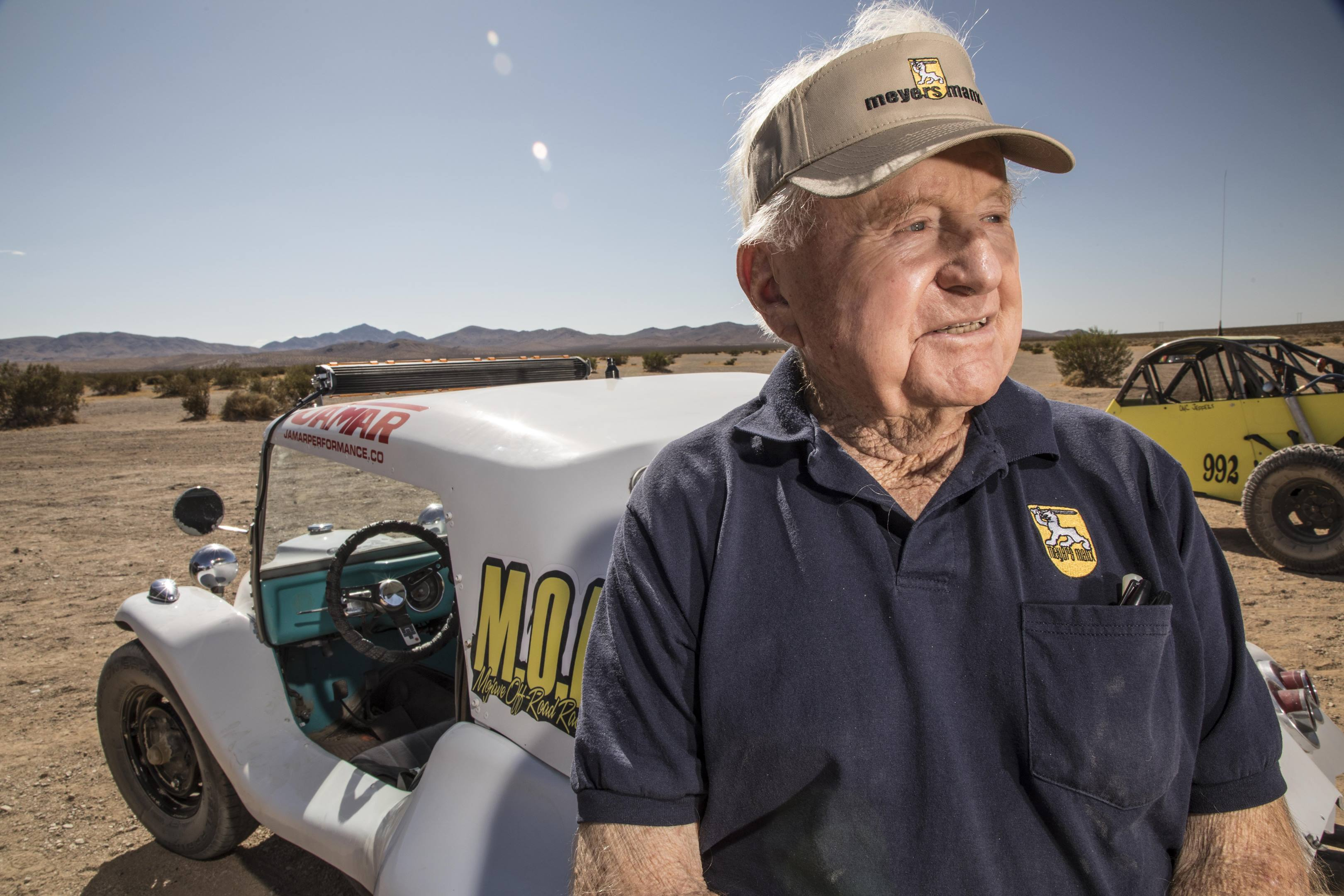 Bruce Meyers, 91 and full of stories, recalls a life fully lived, from building boats to creating the Meyers Manx dune buggy to launching Baja racing over drinks in a Mexican hotel.