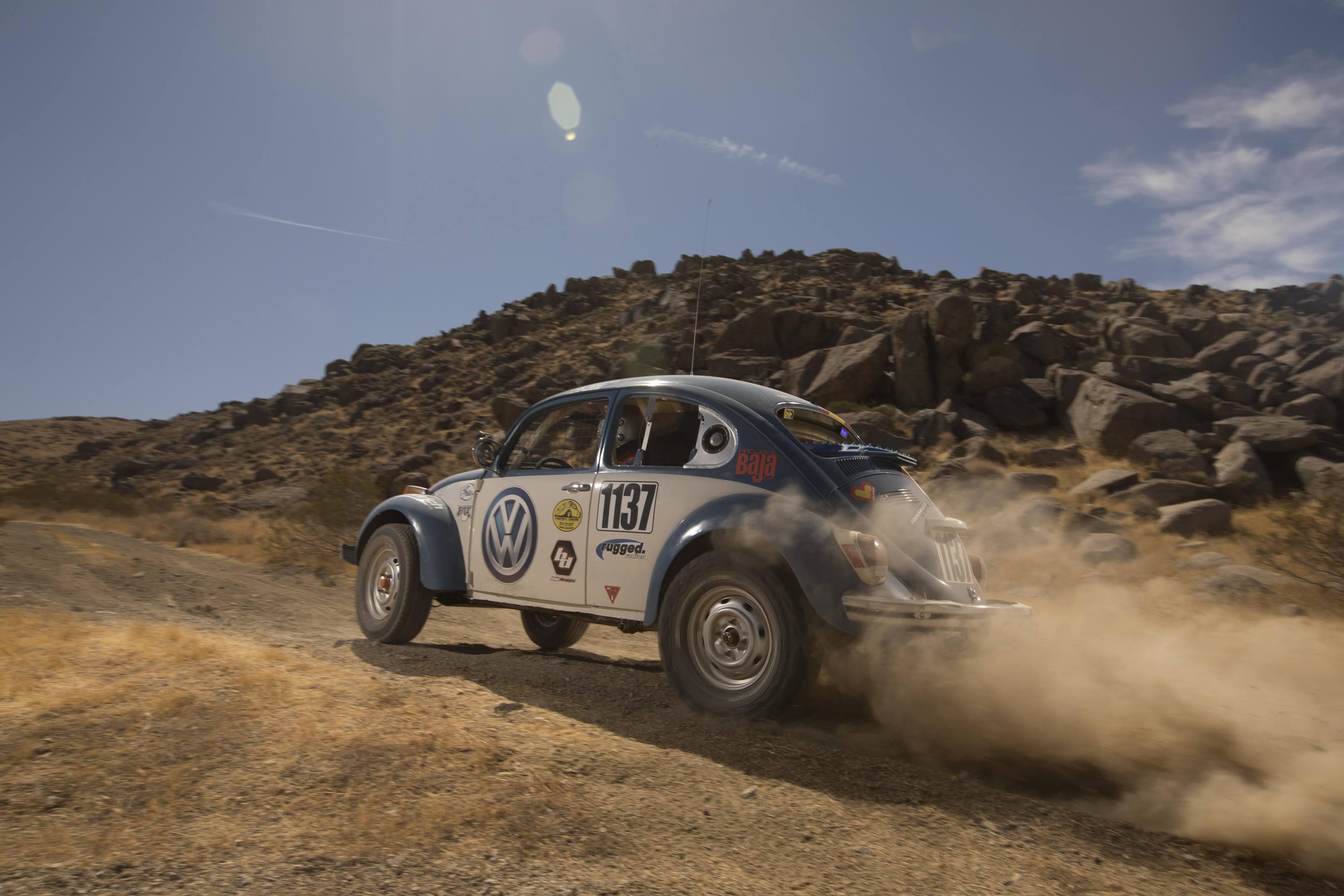 BAJA Bug kicking up dirt
