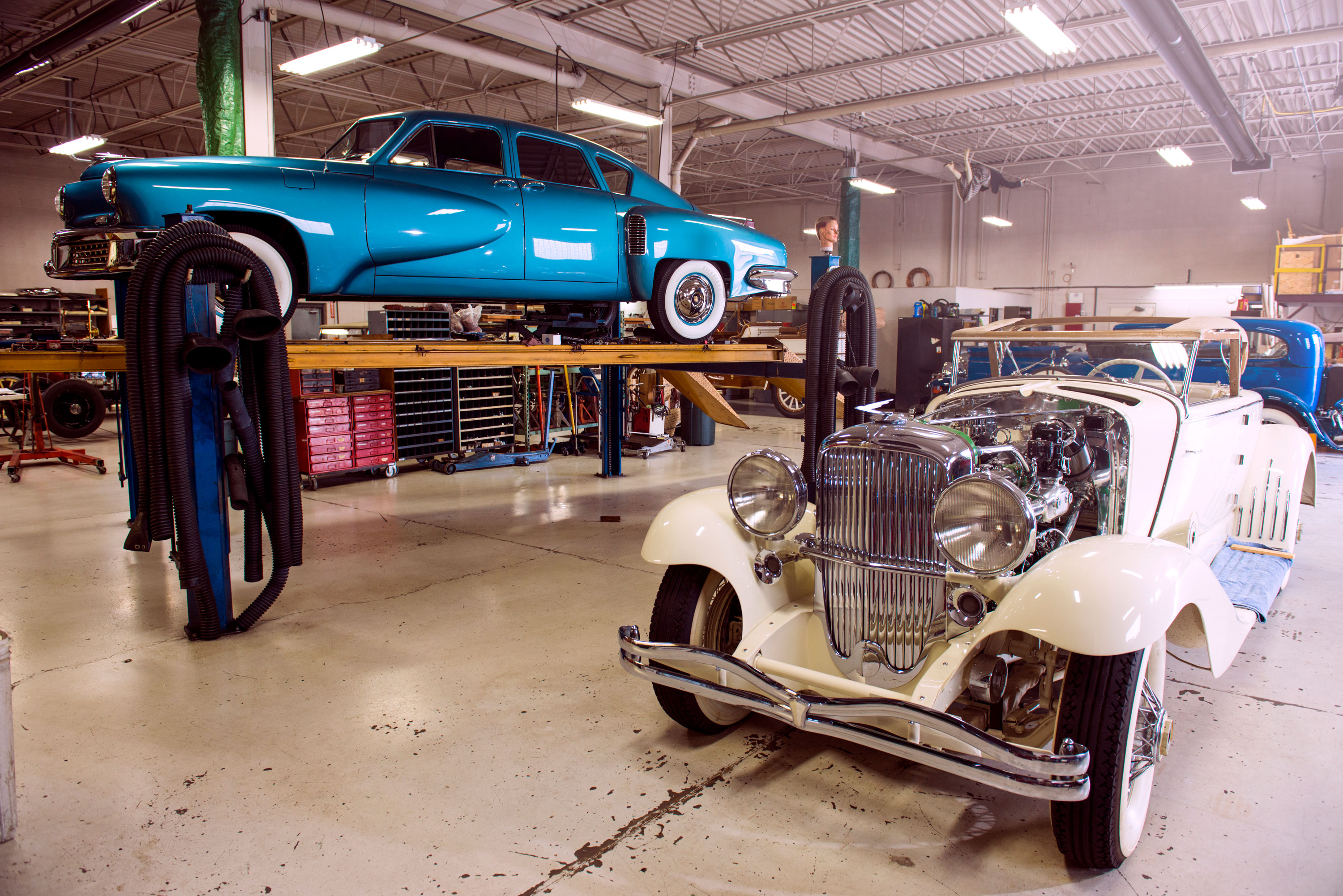 Classic & Exotic Service always has great cars, like the Duesenberg Model J once owned by actress Mae West and one of just 51 Tuckers built.