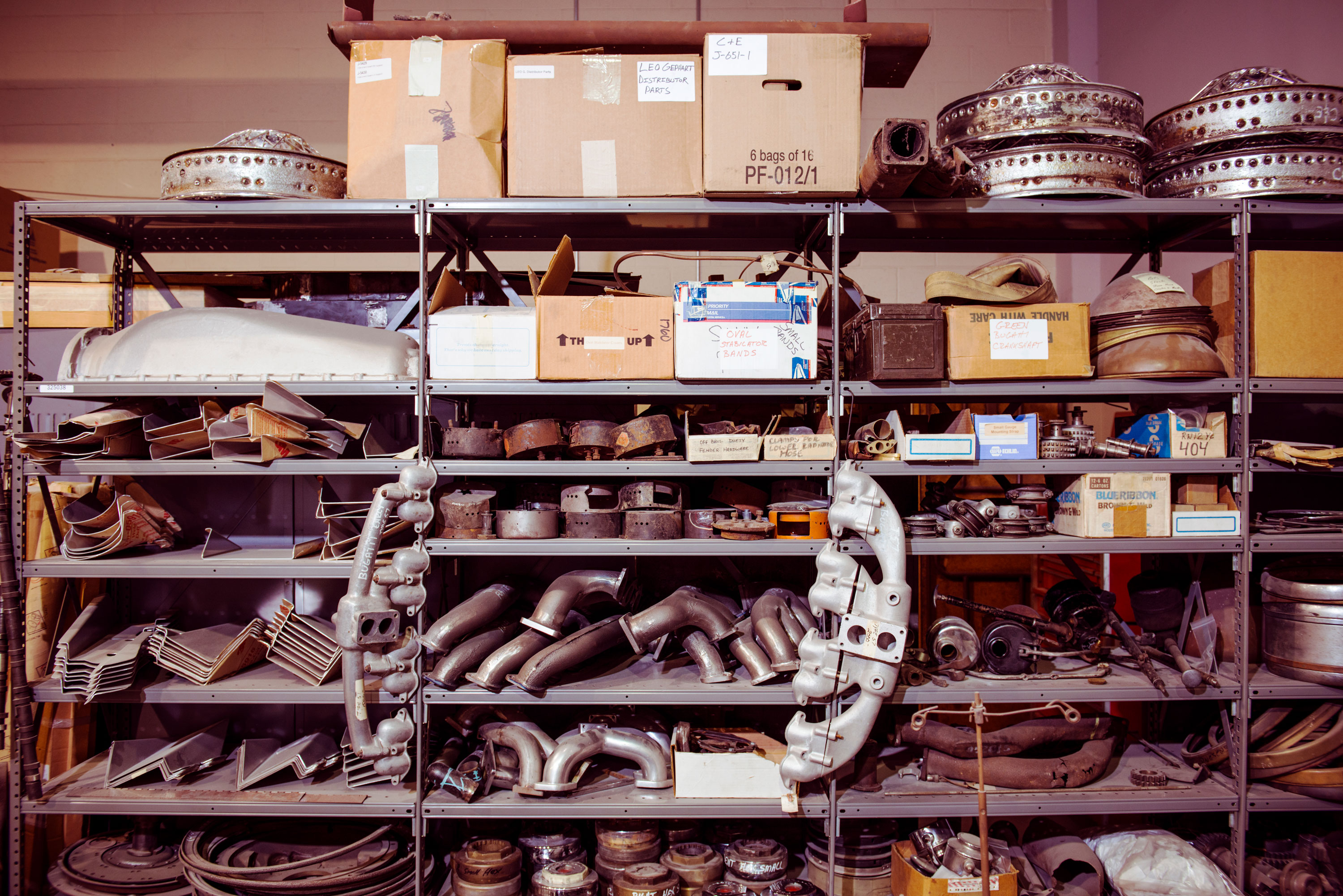 Parts are a big chunk of Brian Joseph's business, whether he is preparing original headlamp buckets for plating or stocking all manner of new and used Duesenberg components.