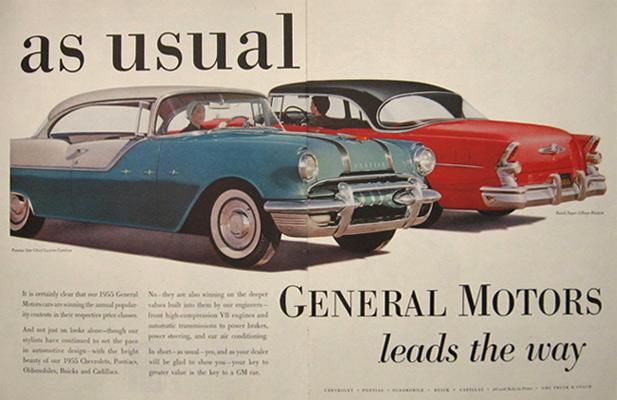 Vintage General Motors GM advertising 1956 Pontiac Buick
