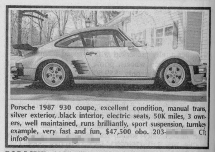 Classic Classified: 1987 Porsche 911 Turbo thumbnail