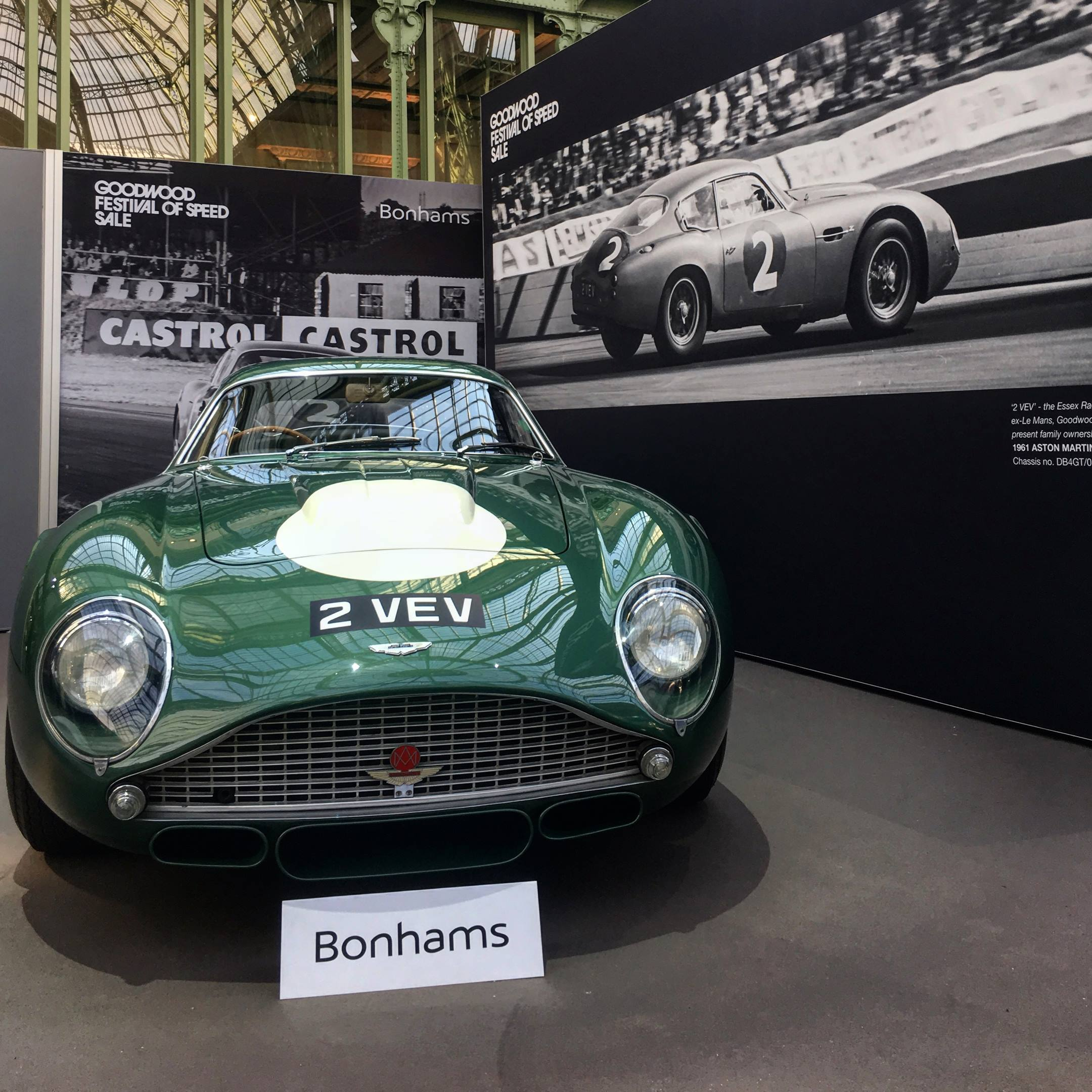 1961 Aston Martin DB4GT Zagato '2 VEV' on display by Bonhams