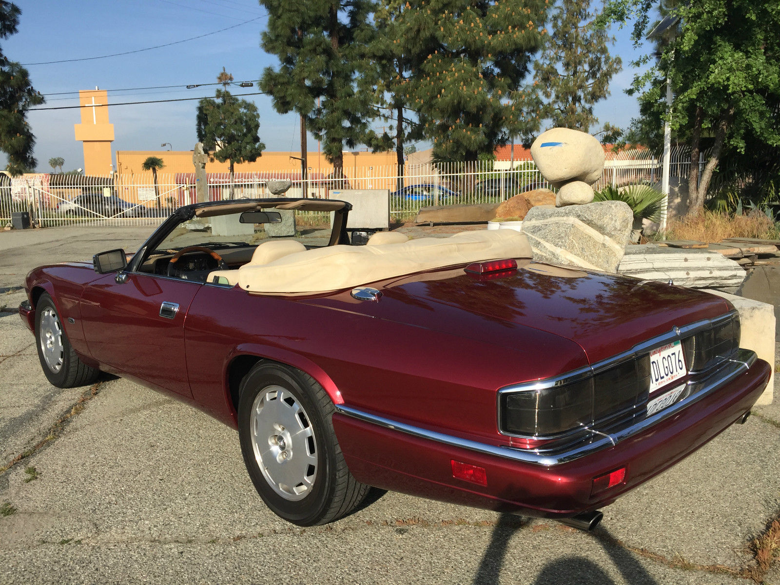 red 1996 Jaguar XJS Convertible rear 3/4