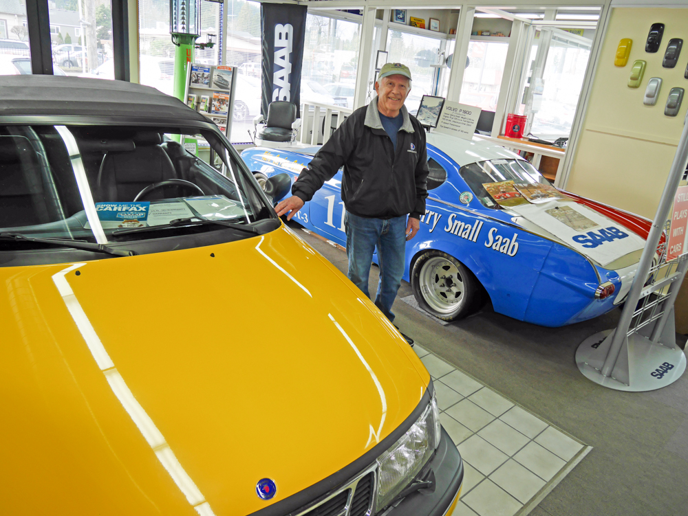 Gary Small and the Volvo race car.